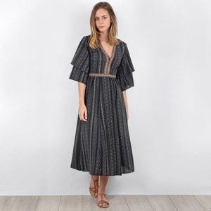 Bedrukte wijduitlopende jurk, 3/4 midi lengte MOLLY BRACKEN