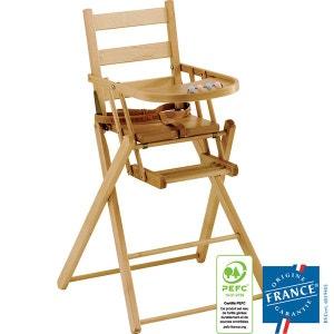 Chaise haute bébé Sarah extra-pliante naturel vernis COMBELLE COMBELLE