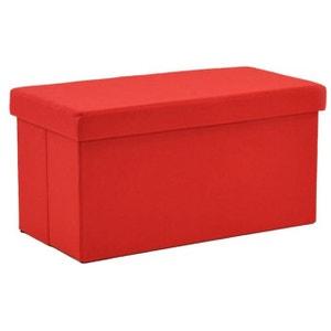 Pouf Coffre pliant rectangulaire Tissu Rouge DECLIKDECO