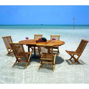 Salon en teck massif huilé 6 places - table ovale 120-180 cm WOOD EN STOCK
