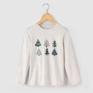 Camisola de mangas compridas, pinheiros, 3 - 12 anos La Redoute Collections
