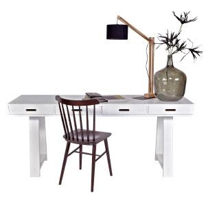 Bureau en pin bureau 4 tiroirs blanc ALFRED ET COMPAGNIE