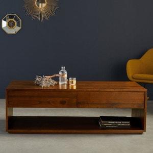 Table basse en bois finition noyer 140 cm BOIS DESSUS BOIS DESSOUS