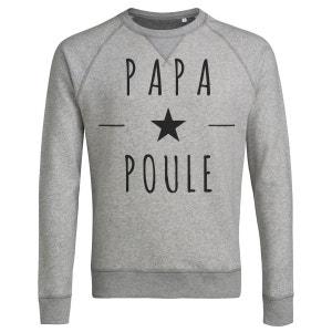 Sweat shirt Imprimé Bio Gris chiné Homme - Papa Poule ARTECITA