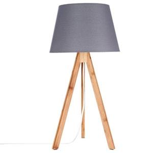 Lampe en bambou forme trépied et abat-jour coton gris foncé D28xH55cm PIER IMPORT