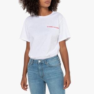 T-shirt met ronde hals en tekst, boyfriend model