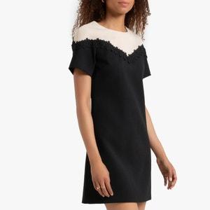 Rechte bicolor jurk met korte mouwen