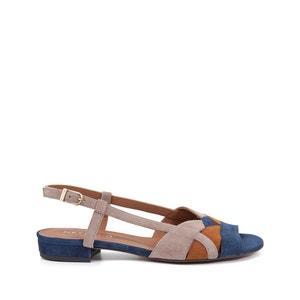 Sandales plates cuir velours Edna HEYRAUD