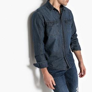 Рубашка однотонная с длинными рукавами La Redoute Collections