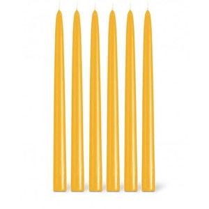 Coffret 12 bougies flambeaux 8h jaune safran BOUGIES LA FRANÇAISE