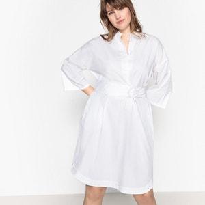 Rechte jurk in popelinekatoen met ceintuur CASTALUNA