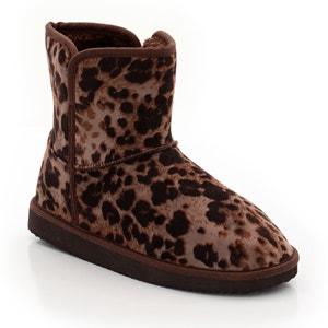 Flat Leopard Print Fur-Lined Ankle Boots LES PETITS PRIX