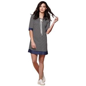 Marynarska sukienka z rękawem 3/4, troczek wiązany przy szyi YUMI