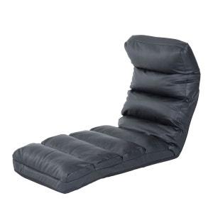 Canapé paresseux fauteuil d'ordinateur de lit pliable noir HOMCOM