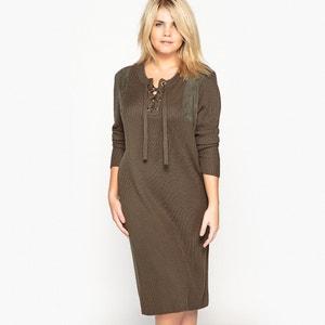 Sukienka swetrowa prosta, sznurowana przy dekolcie CASTALUNA