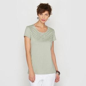 T-shirt met borduursel in gekamd katoen ANNE WEYBURN