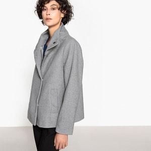 Manteau femme en laine gris
