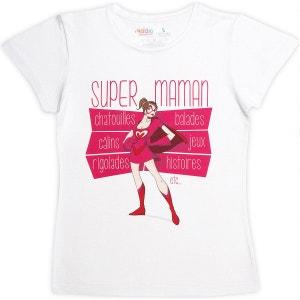 T-shirt femme blanc en coton Super Maman RIGOLOBO