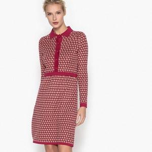 Jurk in tricot met hemdskraag, jacquard met vintage effect MADEMOISELLE R