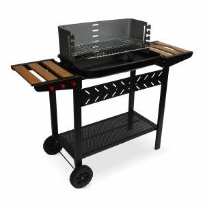 Barbecue charbon Alfred noir et gris, cuve émaillée, tablettes latérales bois, hauteur de grille ajustable ALICE S GARDEN