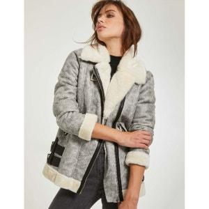 Manteau effet peau lainée craquelée MORGAN