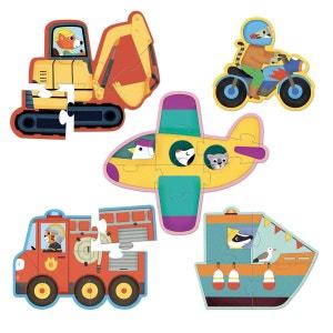 Puzzles des tout petits : 5 puzzles en bois : Transports VILAC