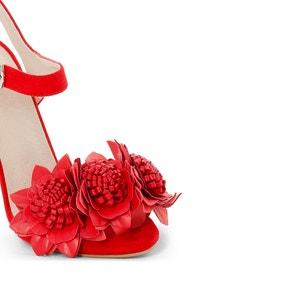 Sandaletten mit Blumen-Applikation, Rot MADEMOISELLE R