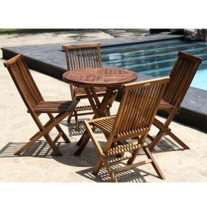 Salon de jardin en bois de teck huilé - table ronde + 4 chaises pliantes en teck huilé BOIS DESSUS BOIS DESSOUS