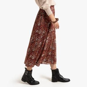 Lange soepele rok met bloemenprint