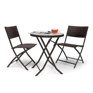 Blumfeldt Set meubles de jardin en rotin 3 pièces :2 chaises & table LED -marron BLUMFELDT