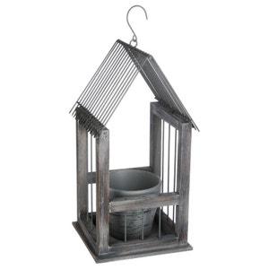 Porte plante forme maison en métal et bois gris 1 pot en argile 19x18x36cm PIER IMPORT