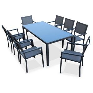Salon de jardin aluminium table 180cm, 8 fauteuils en textilène gris et alu anth ALICE S GARDEN