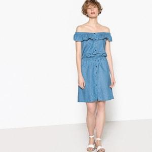 Sukienka w groszki z odkrytymi ramionami i falbanką La Redoute Collections