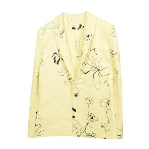 Veste droite en lin jaune à motif fleuri Ines EROS & AGAPE