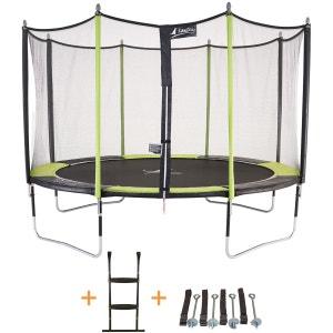 Trampoline de jardin 426 cm + filet de sécurité + échelle + kit d'ancrage JUMPI POP 430 KANGUI
