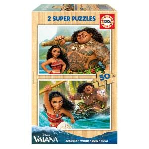 Puzzle 2 x 50 pièces en bois : Vaiana DISNEY