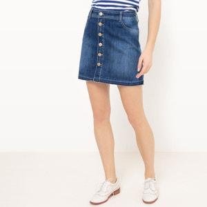 Short Denim Skirt with Fringed Hem and Front Button Fastening LE TEMPS DES CERISES