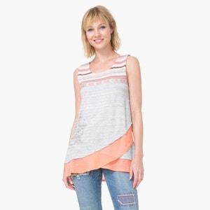 Camiseta sin mangas larga con drapeado y estampado a rayas y rosetón DESIGUAL