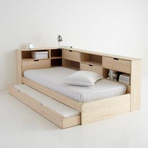 Lit avec tiroir, étagères et sommier, pin massif, Yann La Redoute Interieurs