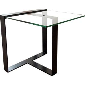 Table basse courte design acier et verre Séverin ALEX DE ROUVRAY DESIGN