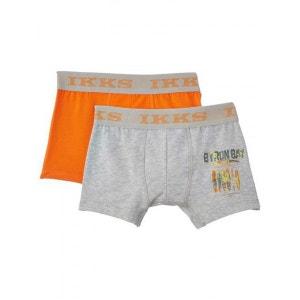 ikks lot de 2 boxers garçon gris et orange IKKS