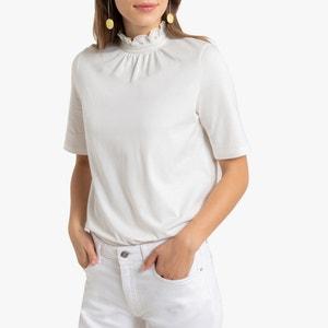 T-shirt met opstaande kraag en korte mouwen