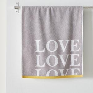 'Love' Cotton Bath Sheet. La Redoute Interieurs