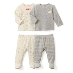 Lot 2 Pyjamas 2 pièces velours Lapin 0 mois-3 ans La Redoute Collections