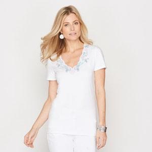 T-shirt com decote em V bordado ANNE WEYBURN