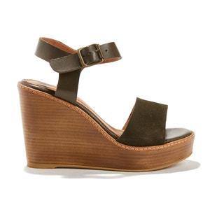ZAMBI BLOC TANZANIE Leather Wedge Heel Sandals ANTHOLOGY PARIS