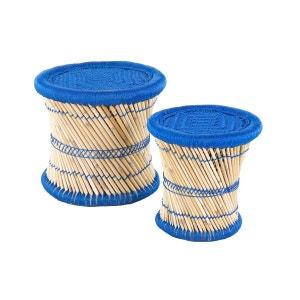2x Pouf rond bleu en fibres de bambou naturelles Tam INWOOD