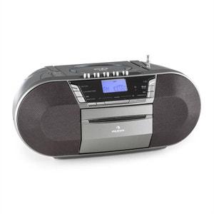 auna Jetpack Boombox Radiocassette portable USB CD MP3 K7 UKW Fonctionnement sur piles -gris AUNA
