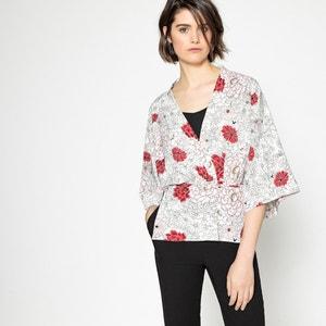 Kimono corto estampado de flores La Redoute Collections
