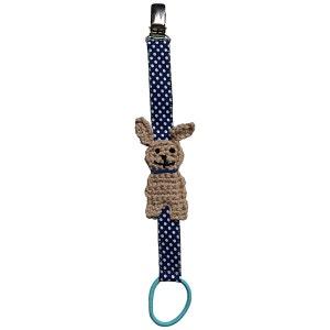Attache-tétine bébé customisée chien crochet biais coton pince métal RIKIKI KIDS